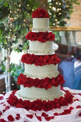 """Our """"BIG"""" Wedding Cake: Traditional Fondant in Light Green w/ White Detail; Mixed Flavors: Chocolate, Vanilla, Marble, w/ Raspberry, Chocolate, and Apricot Filling (all tiers); Red Roses"""