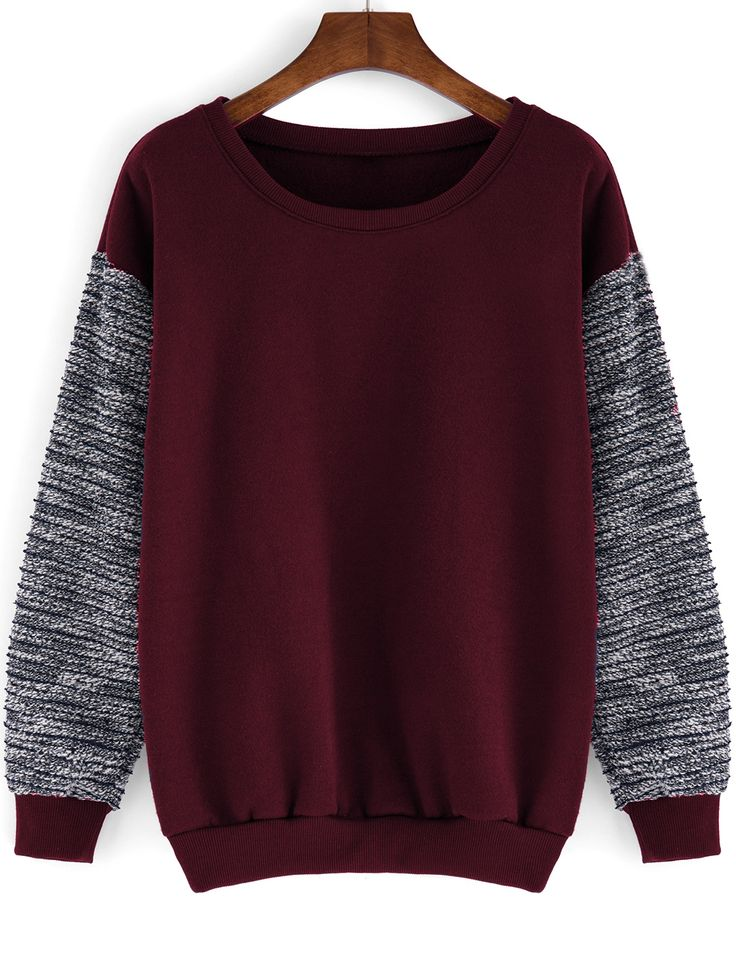 Round Neck Contrast Sleeve Loose Red Sweatshirt 12.00