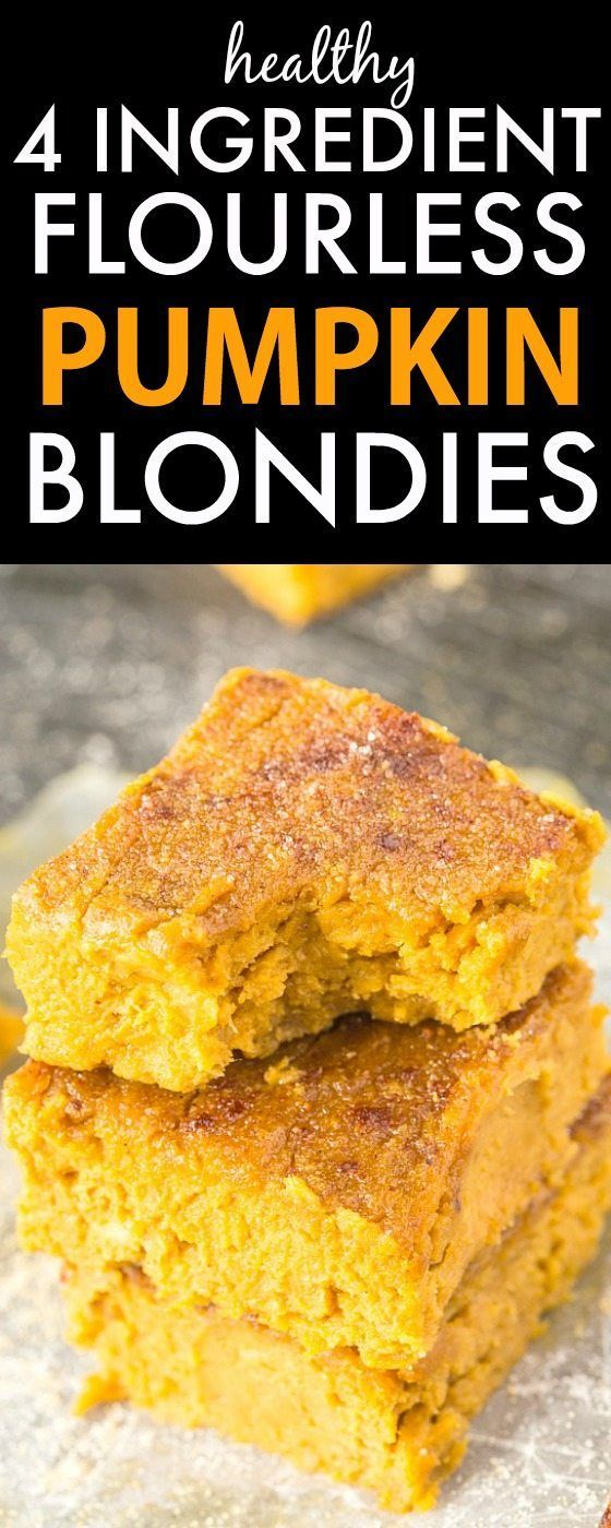 Four Ingredient Flourless Pumpkin Blondies- Soft, fudgy and with NO flour, butter or sugar; these are a healthy sweet treat or snack which are SO delicious! {Vegan, gluten free, paleo recipe} -http://thebigmansworld.com