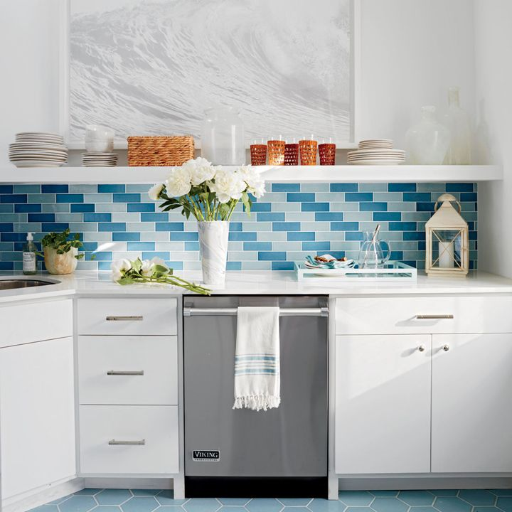 blue subway tile backsplash | 2016 Coastal Living Magazine Hamptons Showhouse