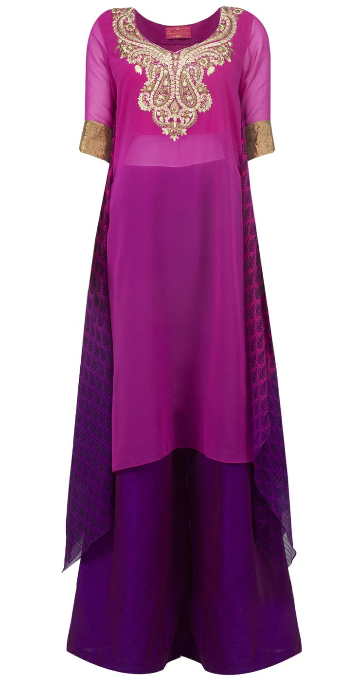 Magenta and purple asymmetrical kurta set by OHAILA KHAN. Shop at http://www.perniaspopupshop.com/whats-new/ohaila-khan-17