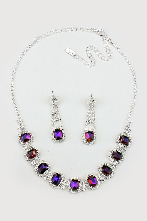 Crystal Anna Necklace in Sapphire Vitrail on Emma Stine Limited
