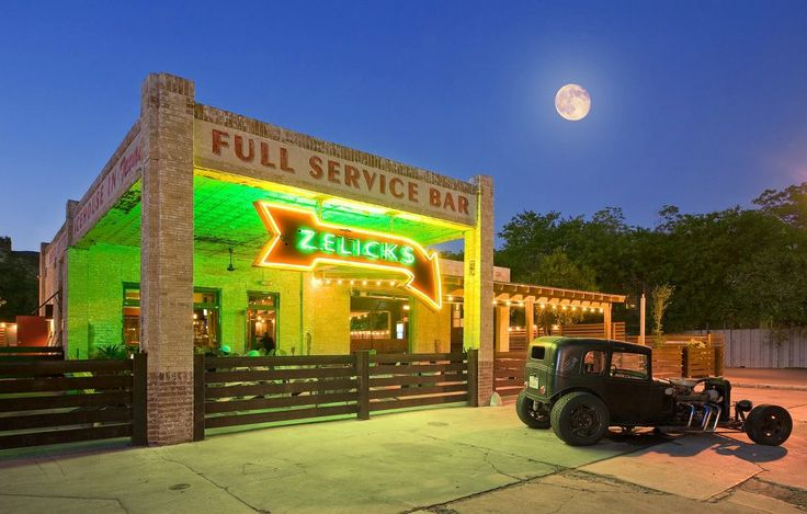 Zelicks Bar, San Marcos, TX. An old 1930s gas station converted into a bar with outdoor games and seating.