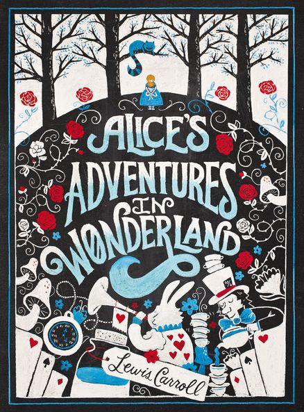 ALICE'S ADVENTURES IN WONDERLAND by Lewis Caroll.  Book sale book cover display...