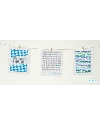 Lottie Coco - True Blue - Lets Go On An Adventure, Be Brave & Boys Dreams prints. Print pack for your nursery or childs room. These packs come with string and mini wooden pegs hanging kit. www.lottiecoco.co.nz