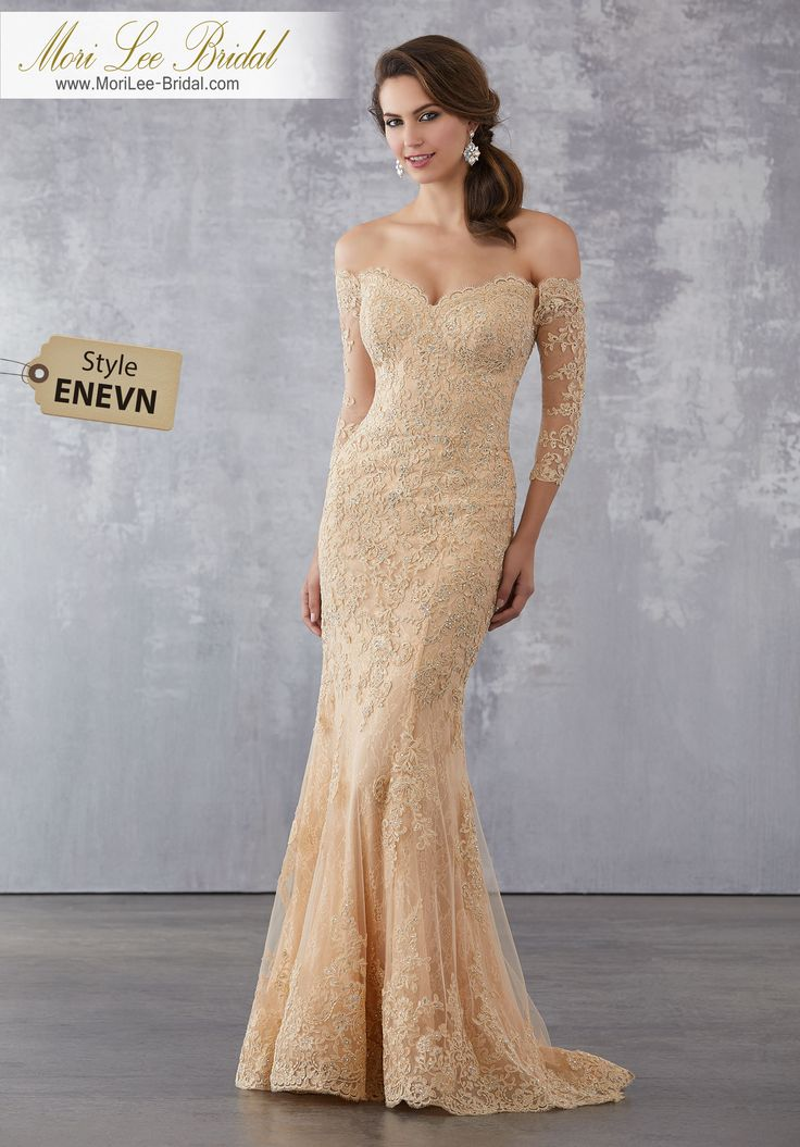 Style ENEVN  Lace and Net Social Occasion Dress with Beaded Lace Appliqués Allover  Beaded Lace Appliqués on Net Over Chantilly Lace. Colors Available: Champagne, Navy