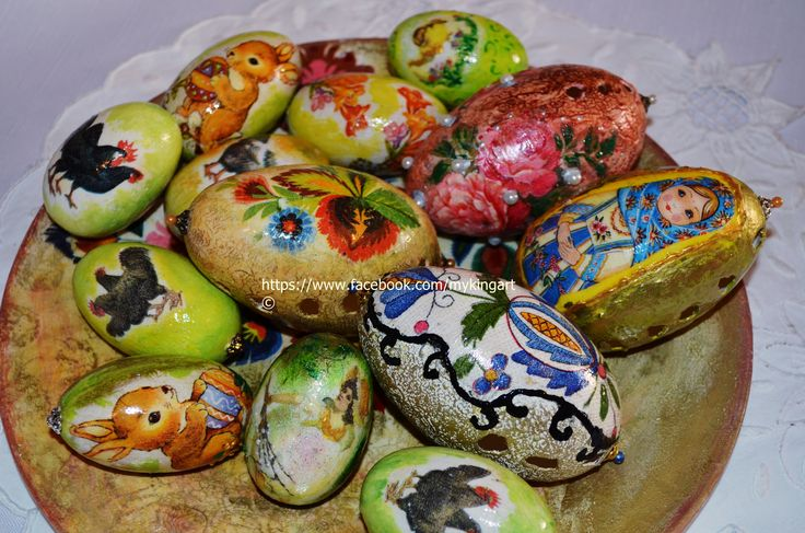 Decoupaged hand painted  wooden eggs and goose blown eggs https://www.facebook.com/MyKingart