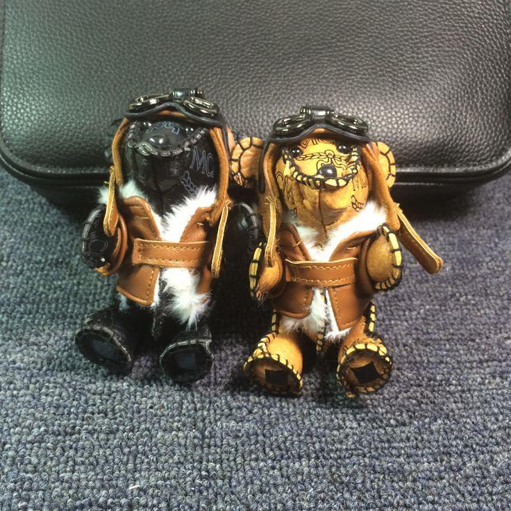 Real Leather Bear Keychain Bag Charm Punk Genuine Leather Skin Keyring