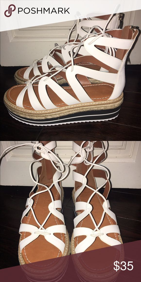 White sandals with blue and white striped platform Brand new! Never worn! 67 Shoes Sandals