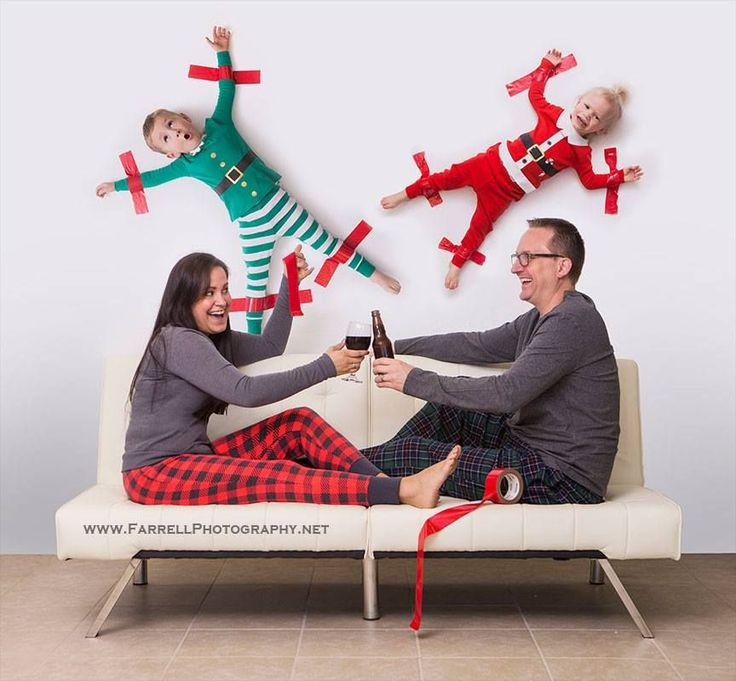 Sacramento Portrait photographer  crazy Christmas card ideas  Christmas-photo-family-kids-taped-to-wall-farrell-photography-2015 fun and funny Christmas card photo of family with kids children taped to the wall