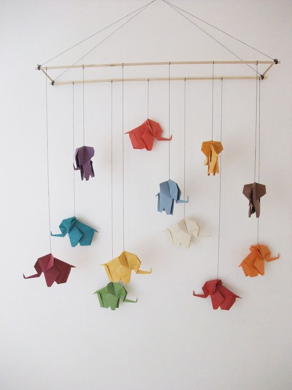 Origami Elephant Mobile Elephant Mobile Elephants on Sticks