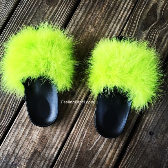 Fur Slides Lime Green Feeling Fanci Fur Slippers are a Summer Must Grab. You will Absolutely Love These Fanci Fur Slippers. Available In This New Vibrant Slime Green. Shoes Slippers