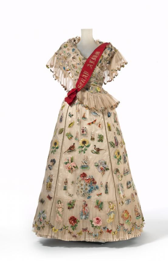"Unusual!  Circa 1893 ""Scrap Album"" fancy dress. Made of silk, cotton, linen, paper, glue, metal (fastening), wood, leather, baleen, wax, and paint, England.  Madame Gough, London (court dressmaker), Sarah Ann Gough (designer).  Via National Gallery of Victoria, Melbourne."