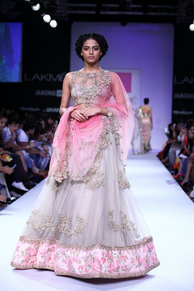 Anushree Reddy Dove Grey and Pink Lehenga Choli - Gujarati Dresses