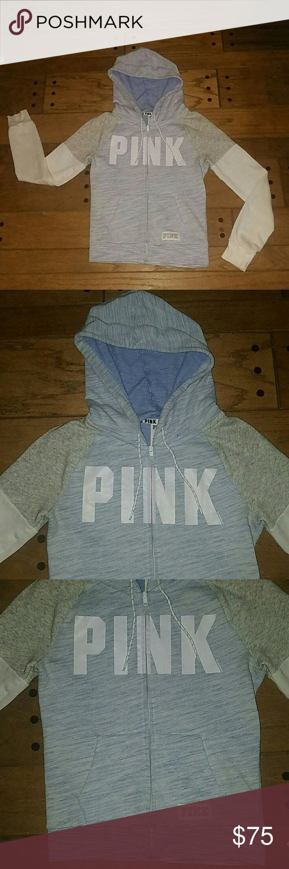 PINK Zip Up Hoodie Women's size small zip up hoodie by PINK from Victoria's Secret. Worn only a couple of times, AMD in excellent condition! Just slight discoloration at the wrists, since it is white material. Could even clean up if the time was taken! Super rare hoodie, sold out online last season in hours. EXTREMELY HARD TO FIND style and color. Absolutely love it! Marled grey, heathered grey and light pastel blue, and white. Adorable matching drawstrings, white with the pastel blue…