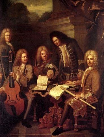 Les ordinaires de la Musique du Roy, par Bouys v 1710- 26) MAISON DU ROI. A: CIVILE. A.2: CHAMBRE; MUSIQUE DE LA CHAMBRE. ... la musique de la chambre, 2 dessus de violons, 2 basses, 2 basses de viole, 4 flûtes, 1 faiseur de luths et autres instruments de musique de chambre. - LA MUSIQUE DE CABINET: 21 violons, 2 bassons, 3 hautbois, 1 huissier des ballets, 1 garde des instruments, 4 trompettes ordinaires des plaisirs du roi, 1 timbalier, 4 tambours, 4 fifres.