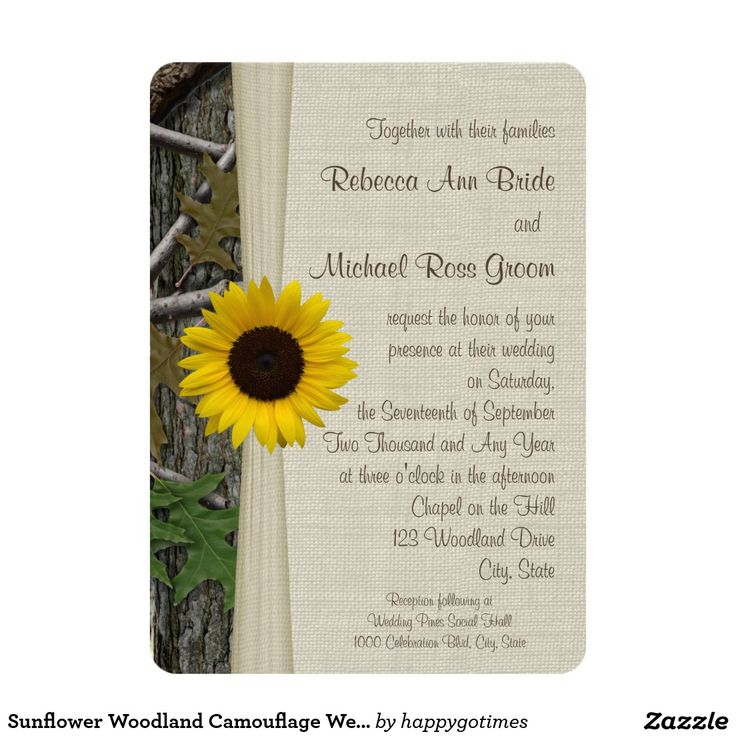 Sunflower Camo Wedding Camouflage Woodland Chic Hunting Theme Wedding Invite Announcement Invitation Card