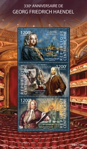 CA15316a 330th anniversary of George Frederic Handel (A Water Music show on the river Thames in 1717, G. F. Handel presenting Music on the water for King George I (1660-1727), Music for the Royal Fireworks in Green Park, London, 1749)