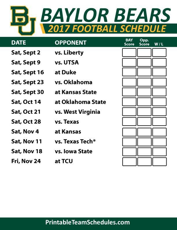2017 Baylor Bears Football Schedule