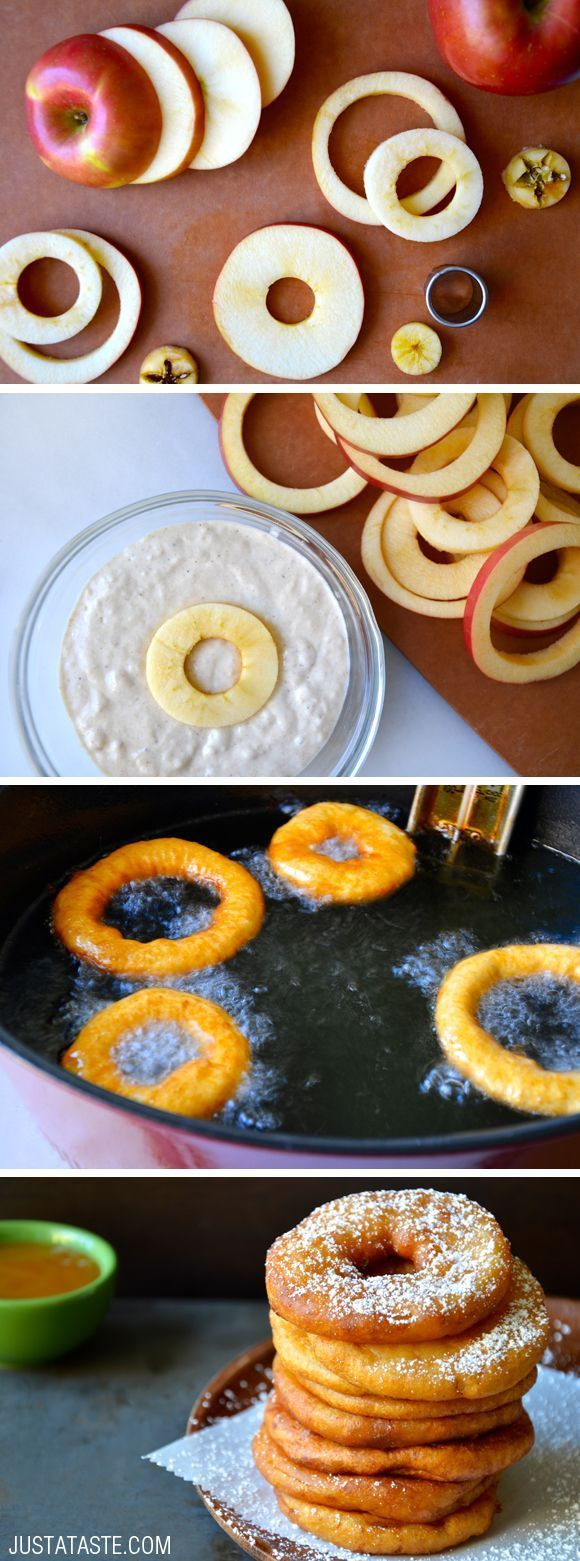 Apple Fritter Rings with Caramel Sauce #recipe from justataste.com donuts, donut…