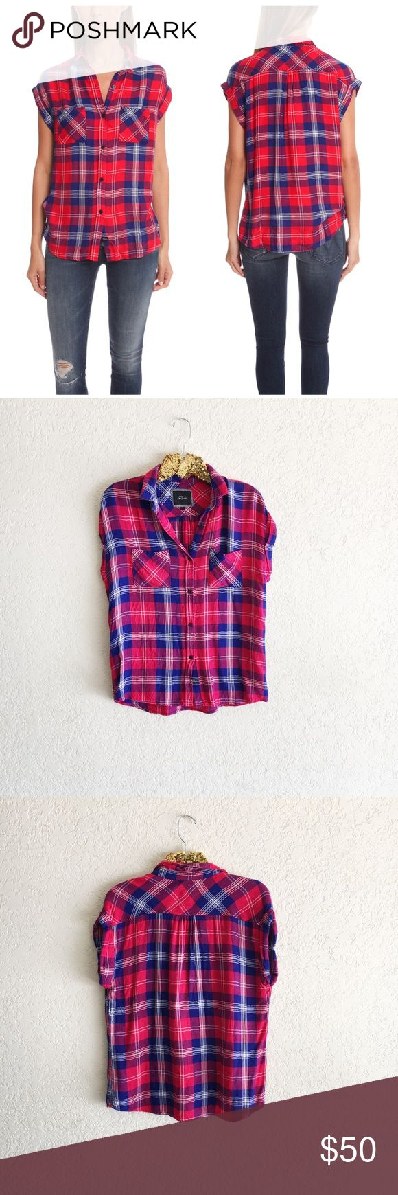 "Rails Britt Rolled Short Sleeve Shirt This super soft and luxe Rails blouse comes in a classic cut making it your must have denim companion.   - Color: Cobalt/Cherry  - 100% Rayon  - Hand Wash/Hang Dry   * Model is 5'9"" wearing size S Rails Tops Button Down Shirts"