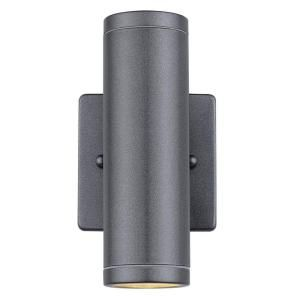 Eglo Riga 2 Light Anthracite Outdoor Cylinder Wall Light