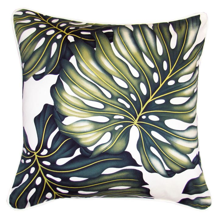 """Monstera Leaf Tropical Cushion . White Piping . 45cm /18"""" by TiareDesign on Etsy"""