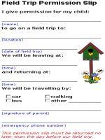 17 Best ideas about Field Trip Permission Slip on Pinterest ...