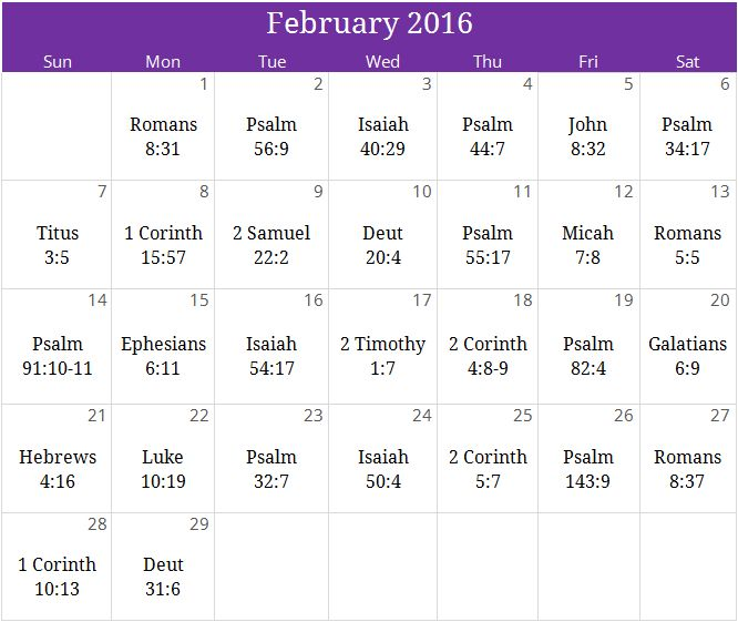 "February 2016 ""Deliverance"" prayer calendar. For a free monthly devotional & to join our mailing list email us at calendar@iprayallday.com"