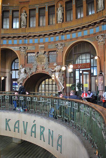 Cafe at #Prague's art nouveau Main Train Station, #Czech Republic #Europe