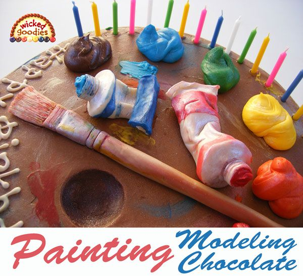 How to Paint on Modeling Chocolate, a cake decorating tutorial with tips on painting with liquid, gel, powder, and airbrush colors by Wicked Goodies