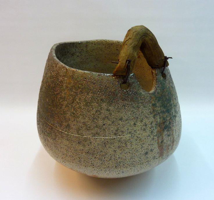Matt barium glaze- gas kiln/ 1260 Celsius degrees - Driftwood handle.