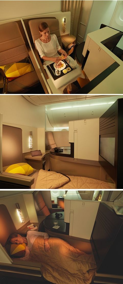 "Etihad Airways A380 ""Business Studios"" ...The business studio, configured in a 1-2-1 format, has 20 per cent more space than Eithad's current business class seat  First and business class passengers travelling on Etihad's 787 Dreamliner or A380 fleet will have access to The Lobby, a serviced lounge and bar."