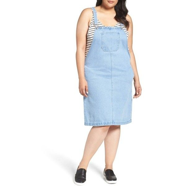 Plus Size Women's Glamorous Denim Overall Dress ($79) ❤ liked on Polyvore featuring dresses, light blue wash, plus size, plus size blue dress, light blue plus size dress, bib dress, woven dress and slim fit dress