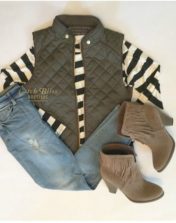 Winter Fashion Outfit. Iconic quilted mock neck vest in olive. Complete the perfect fall/winter look with this on-trend vest. Zip up front with side pocket detailing. Free shipping on orders $50 and over! #outfit