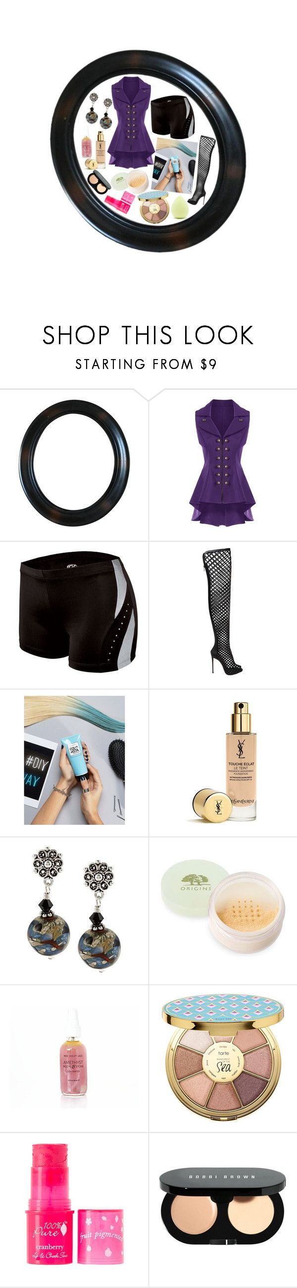 """""""Untitled #730"""" by yasm-ina ❤ liked on Polyvore featuring Le Silla, L'Oréal Paris, Yves Saint Laurent, Origins, tarte, 100% Pure, Bobbi Brown Cosmetics and Forever 21"""