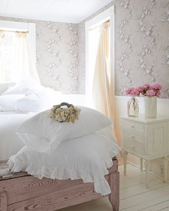 Subtle Details.  Embroidered Hem Sheeting & Liliput White Ruffle Bedding.  All available in select Shabby stores & shabbychic.com (bedding). #shabbychic #rachelashwell #shabbydecor #shabbybedding