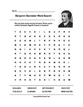 benjamin banneker word search grades 3 5 benjamin banneker search and words. Black Bedroom Furniture Sets. Home Design Ideas