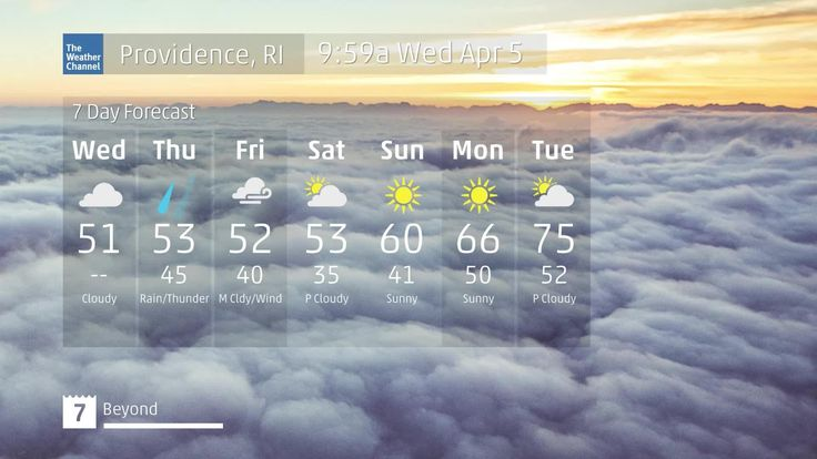 Providence, RI 40 second local forecast from The Weather Channel. Current conditions, 5 day outlook, with highs, lows, and chance of rain