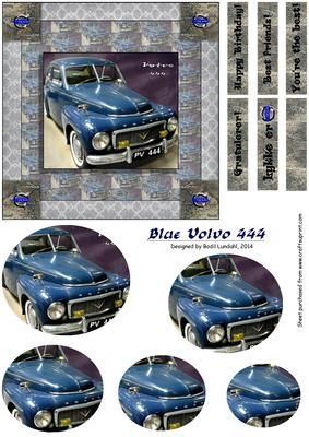 Blue Volvo 444 on Craftsuprint designed by Bodil Lundahl - This design is for a celebration card to the Volvo enthusiast. This blue vintage beauty is from the 1950ties (I believe - but please don't hang me if I'm wrong). The design is rather masculine, but I'm sure a female Volvo lover would enjoy it too :) - Now available for download!