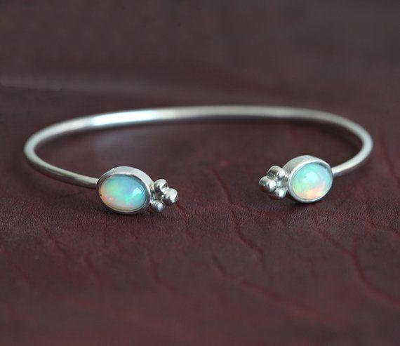 Opal Armband Silber Armreif Manschette Armband Opal von MinimalVS
