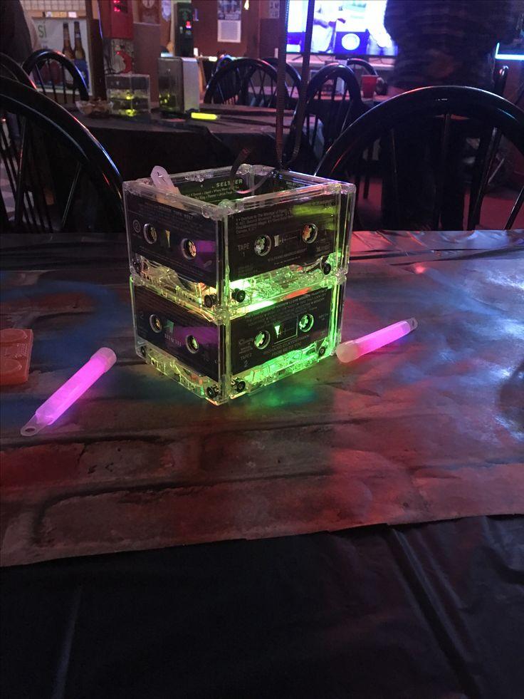 Cassette tape centerpiece. Graffiti party, hip hop party