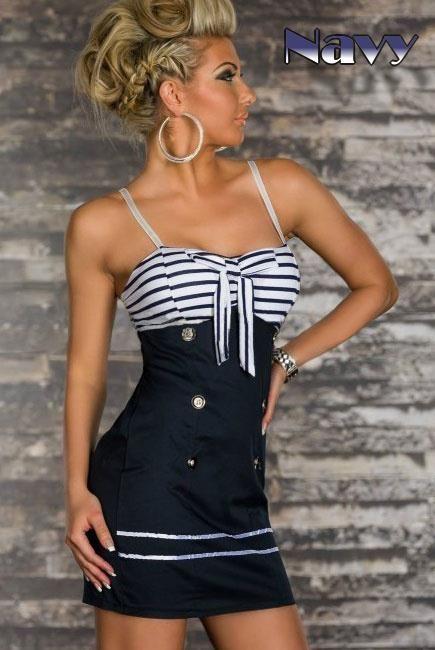NAVY Dámské letní šaty v námořnickém designu Modro bílé