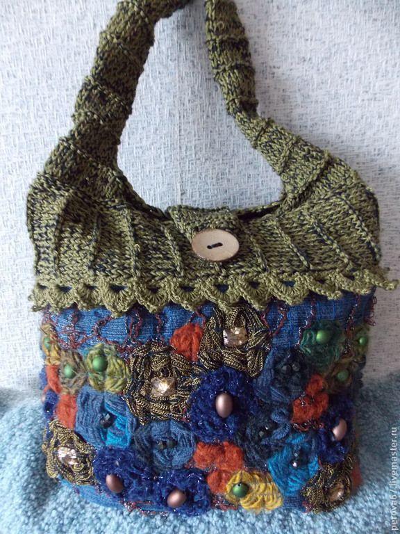 Сумка в технике крейзи вул Crazy Wool Осенние цветы. Handmade.