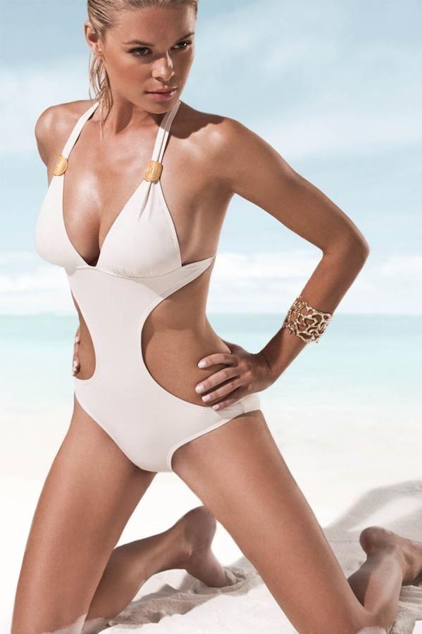 Gah! Love this white monokini swimsuit.. hot, hot, hot!