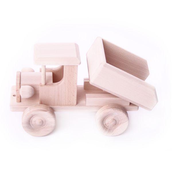 Stabiler und praktischer Kipplaster aus Holz - ein unbehandeltes und natürliches Holzspielzeug