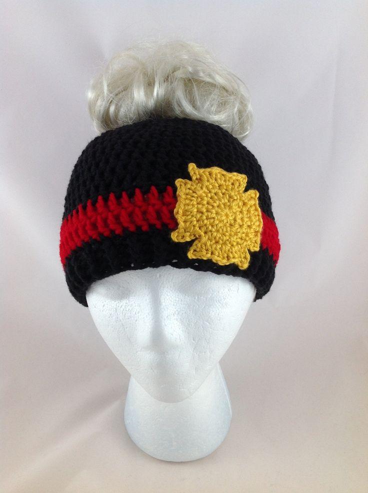 Messy Bun Hat - Bun Beanie - Firefighter Hat - Maltese Cross - Thin Red Line - Womens Hats - Ponytail Hat - Fireman Hat - Crochet Bun Hat by TimelessCrochetCraft on Etsy