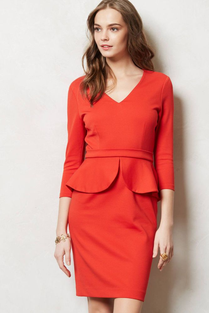 Anthropologie Melisande Sheath Size 12P, Red Peplum V-Neck Dress By Marc Bouwer #MarcBouwer #PeplumTeaDress #WeartoWorkCocktailDateNight