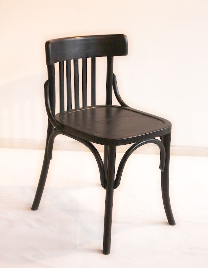 Bistro Chair - Dark Brown. Bistro Chair is made from solid jati wood recycled with dark brown finishing. The size is 45cm x 40cm x height 77cm solid jati recycled finishing Dark Brown.