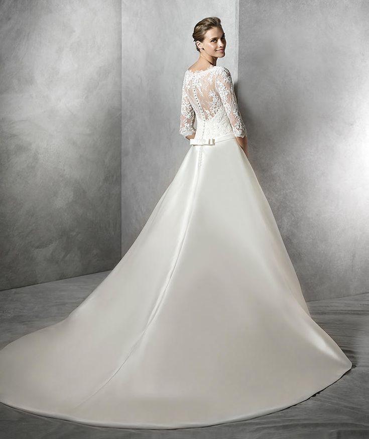 Mikado Wedding Gown: TORICELA- Simple Princess Wedding Dress In Mikado Silk